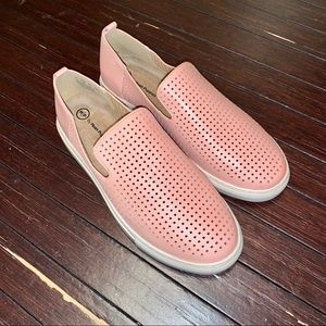 Hush Puppies Manda pink perforated slip on shoes